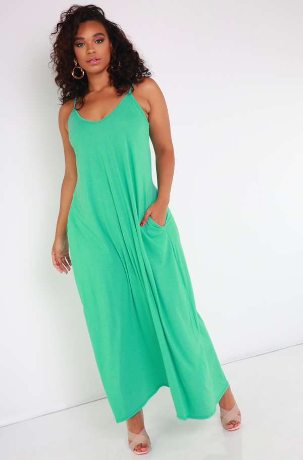 Mint Strappy Maxi Dress Plus Sizes