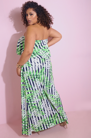 Green Ruffled Maxi Dress Plus Sizes