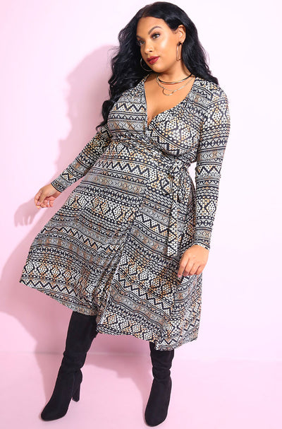 Black and gray, with aztec print Long Sleeve Wrap midi length Dress plus sizes