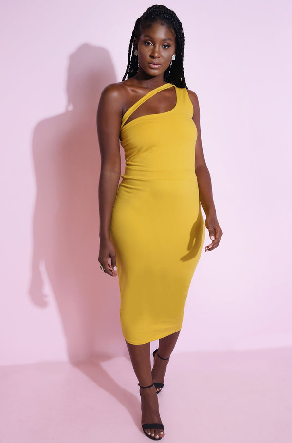 Mustard One Shoulder Bodycon Midi Dress Plus Sizes