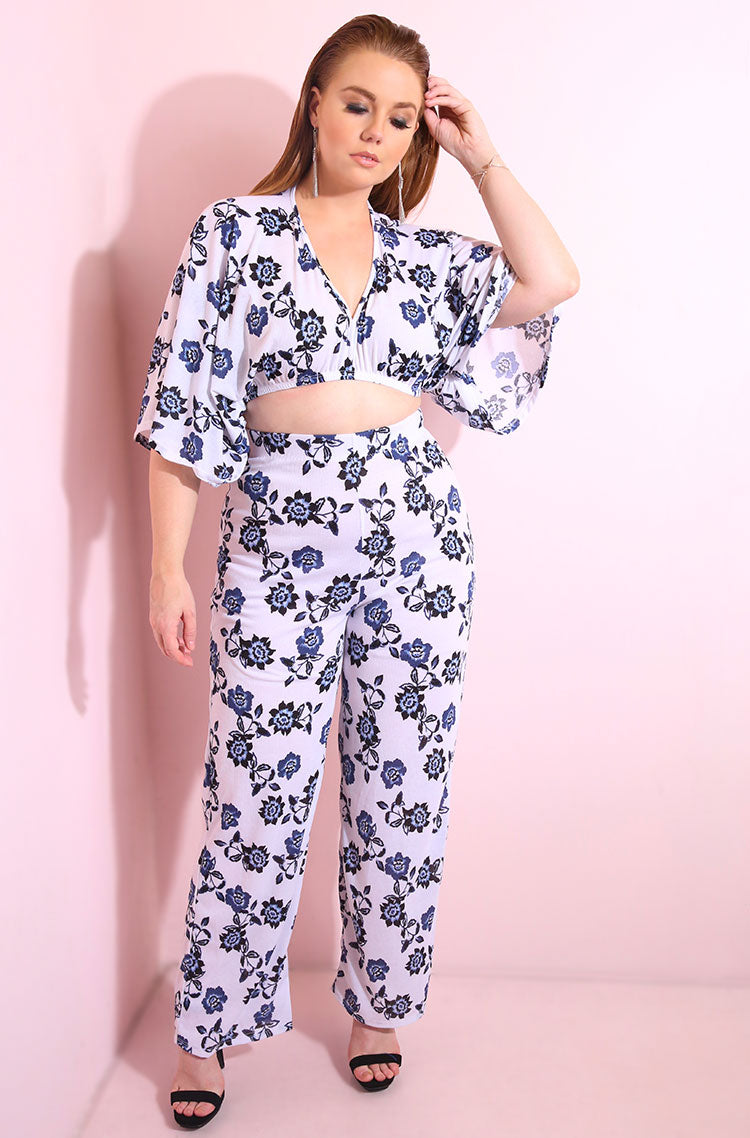 Blue Wide leg high waist pants with flower print plus sizes