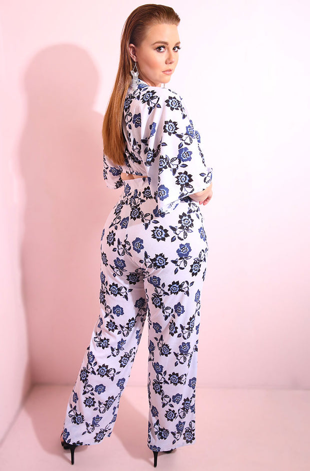 Blue Kimono Sleeves flower print crop top plus sizes