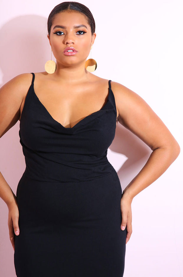 Black Cowl Neck Cotton Bodycon Maxi Gown plus sizes