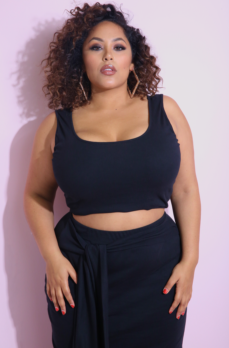 Black Tank Crop Top & Maxi Skirt Set Plus Sizes