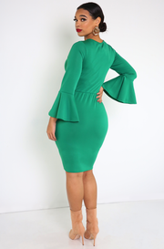 Green Bell Sleeve  Bodycon Mini Dress Plus Sizes