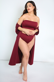 Burgundy Oversized Swimsuit Cover Up Kimono Plus Sizes