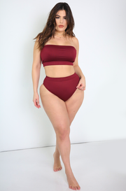 Burgundy High Cut Swimsuit  Bottom Plus Sizes