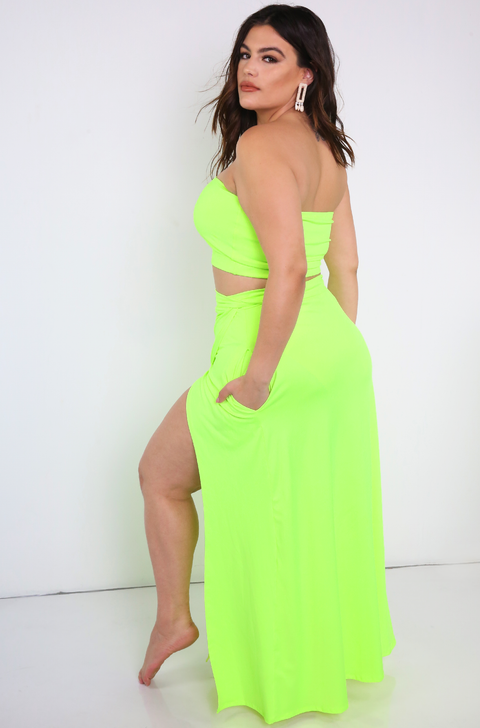 Neon Green Wrap Maxi Skirt With Pockets Plus Sizes