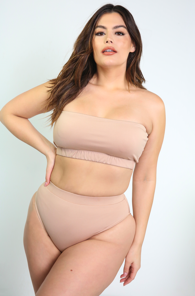 Nude High Cut Swimsuit  Bottom Plus Sizes