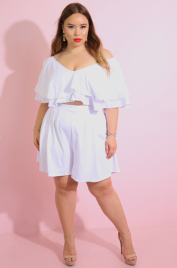 White Ruffled Wide Leg Shorts Set Plus Sizes