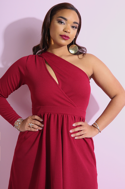 Burgundy One Sleeve Skater Mini Dress plus sizes