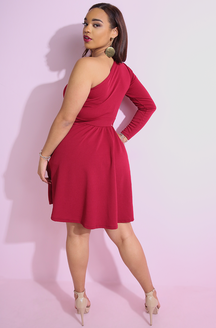 "Rebdolls ""In The Middle"" One Sleeve Skater Dress"