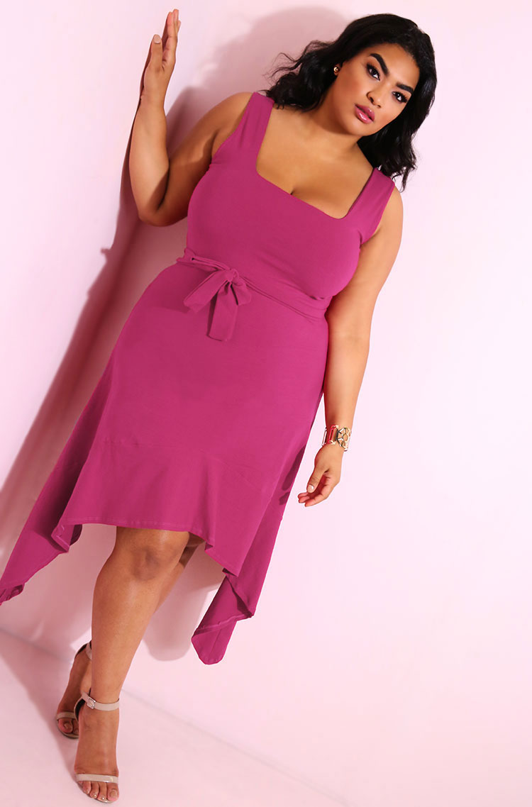 Fuchsia Shark Bite Hem Bodycon Mini Dress plus sizes