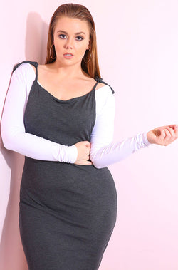 Gray Overall Bodycon Mini Dress plus sizes