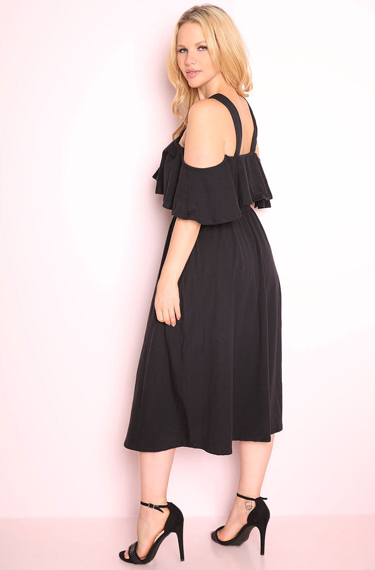 Black Ruffled Skater Midi Dress plus sizes