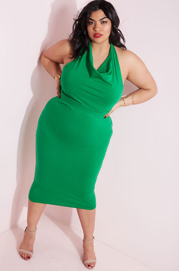 Green Cowl Neck Bodycon Midi Dress plus sizes