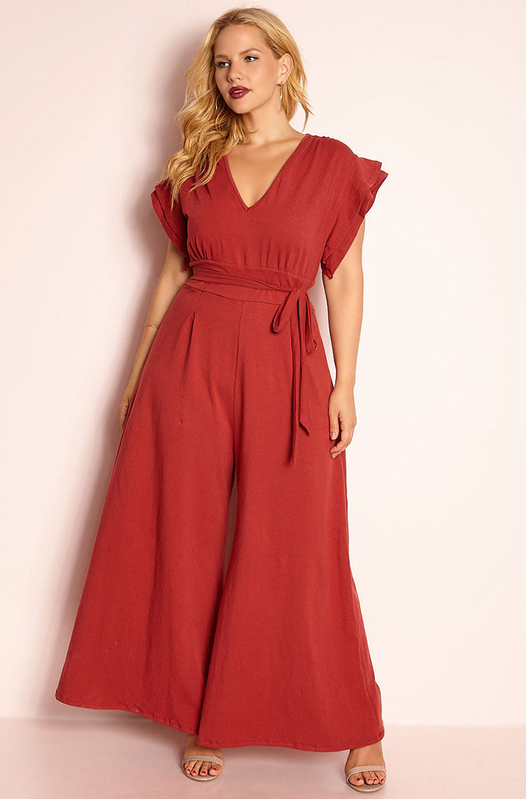 Rust Red Ruffled Sleeve Jumpsuit plus sizes