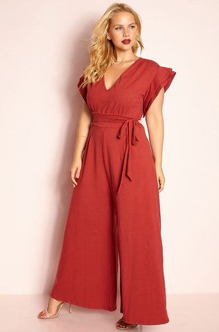 "Rebdolls ""The Things You Do"" Ruffled Jumpsuit - Burgundy"
