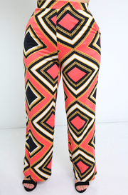 Coral Wide Leg Pant With Pockets Plus Sizes