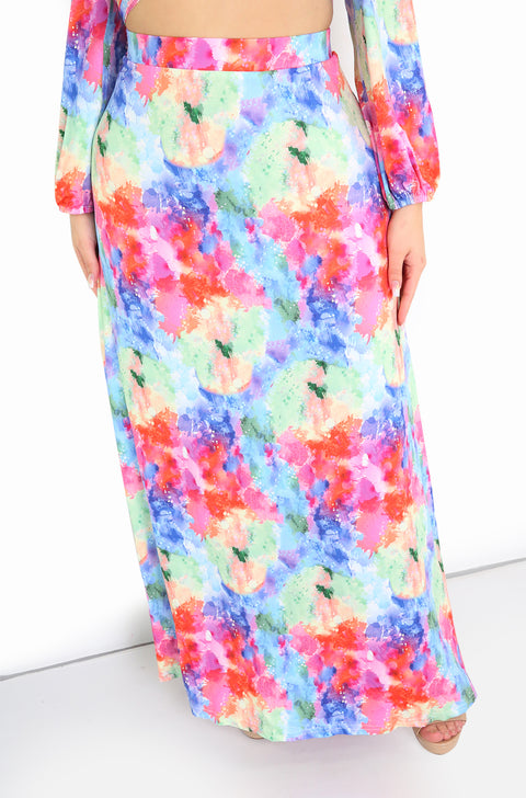 Pink Watercolor Maxi Skirt Plus Sizes