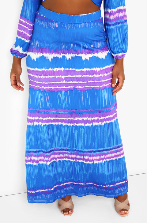 Blue Maxi Skirt Plus Sizes
