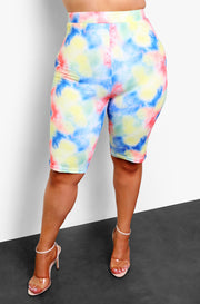 Blue Tie Dye Bermuda Biker Shorts Plus Sizes