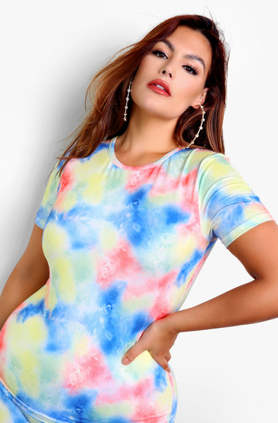 Blue Tie Dye Crew Neck Short Sleeve Top Plus Sizes