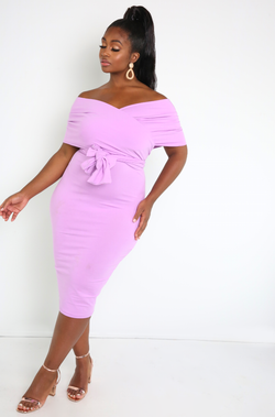Lilac Wrap Top Bodycon Midi Dress Plus Sizes