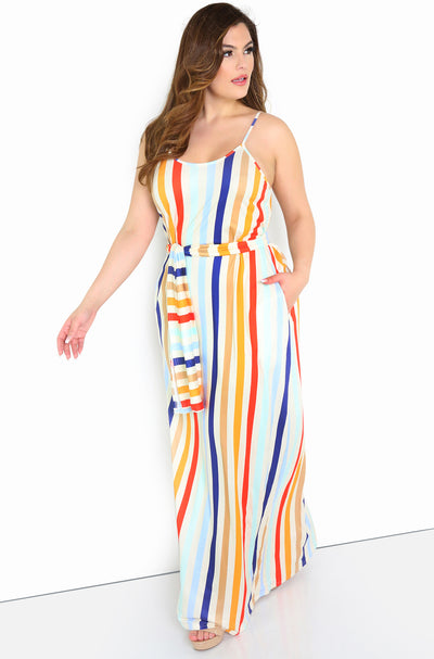 Orange Relaxed Fit Striped Maxi Dress Plus Sizes