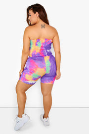 Purple Tie Dye Bandeau & Shorts Set Plus Sizes
