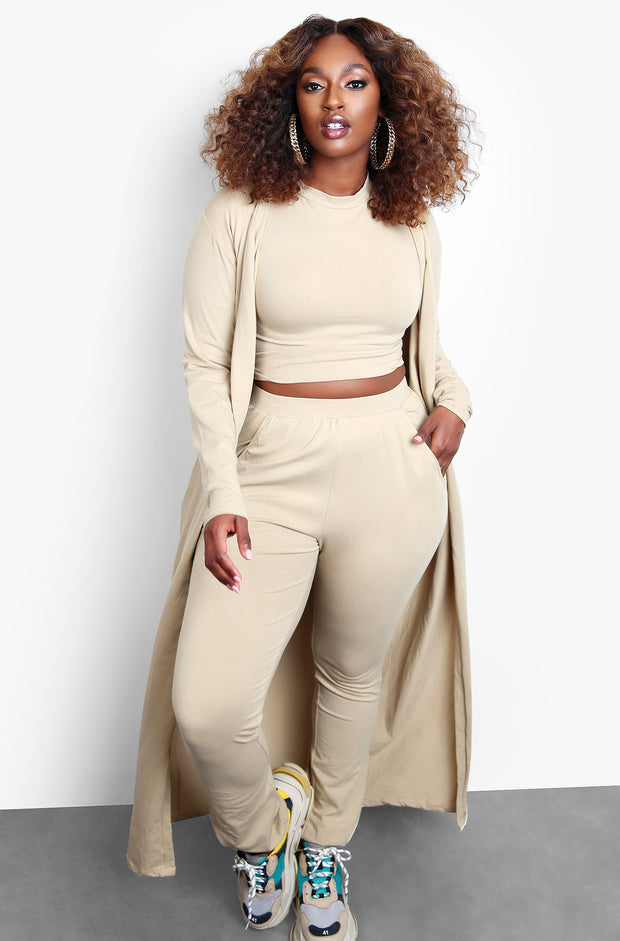 Nude Three Piece Joggers & Cardigan Set Plus Sizes
