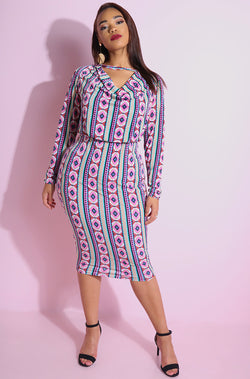 Pink Print Cowl Neck Long Sleeve Midi Dress plus sizes
