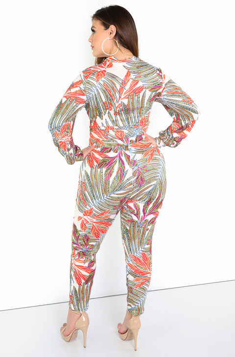Orange High Waist Tropical Print Straight Leg Pants Plus SIze