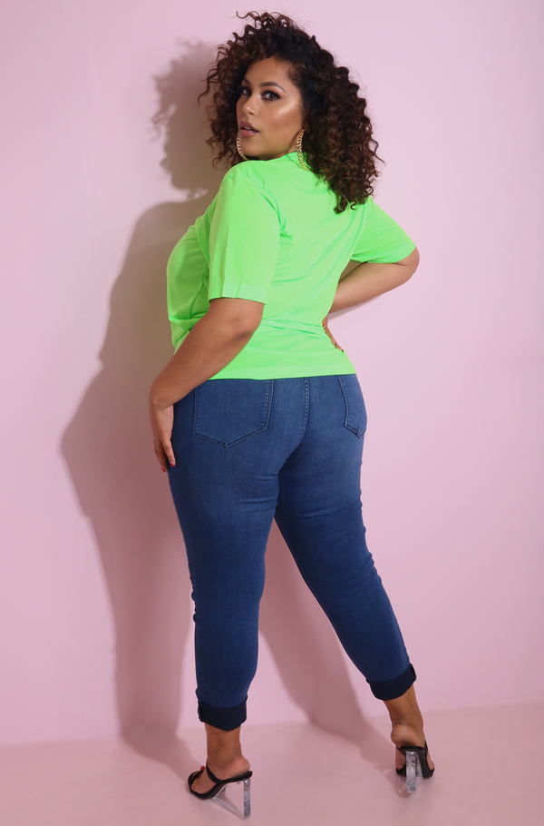 "Neon Green ""Influencer"" Boyfriend Neon T-Shirt Plus Sizes"