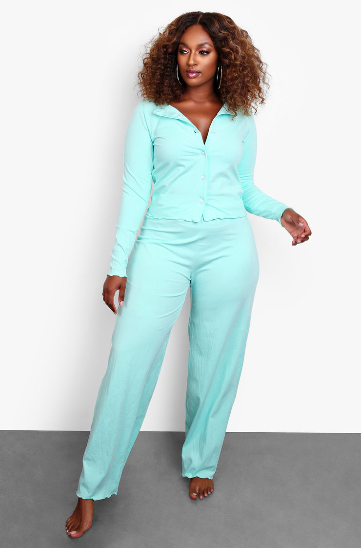 Mint Casual Button Down Top & Wide Leg Pant Set Plus Sizes
