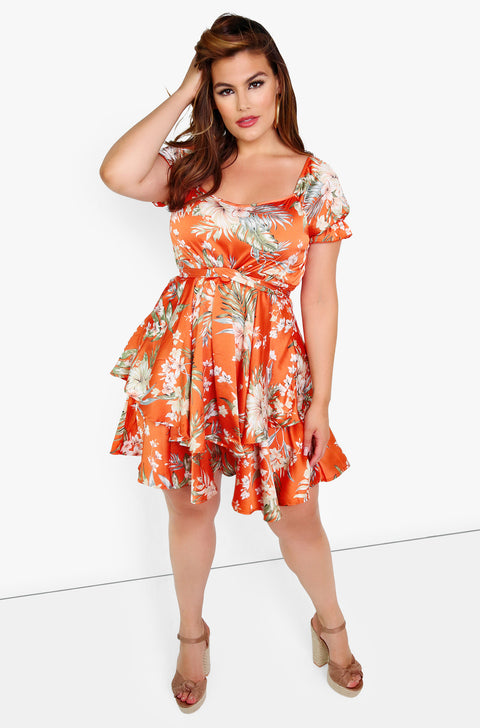 Orange Floral Skater Mini Dress Plus Sizes