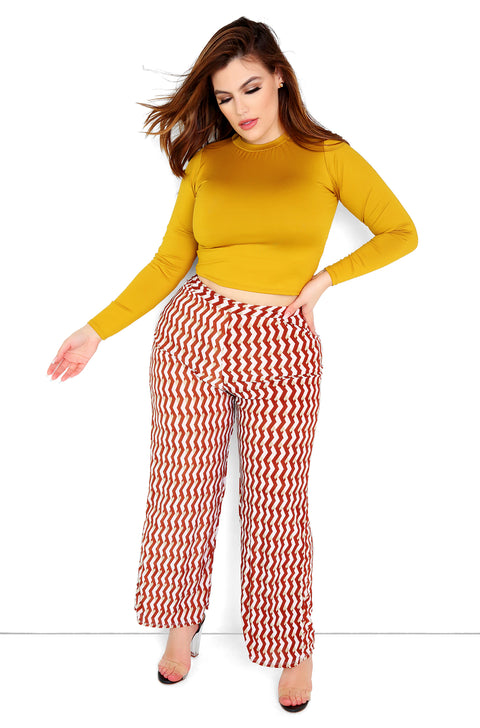Brown Printed High Waist Wide Leg Pants Plus Size