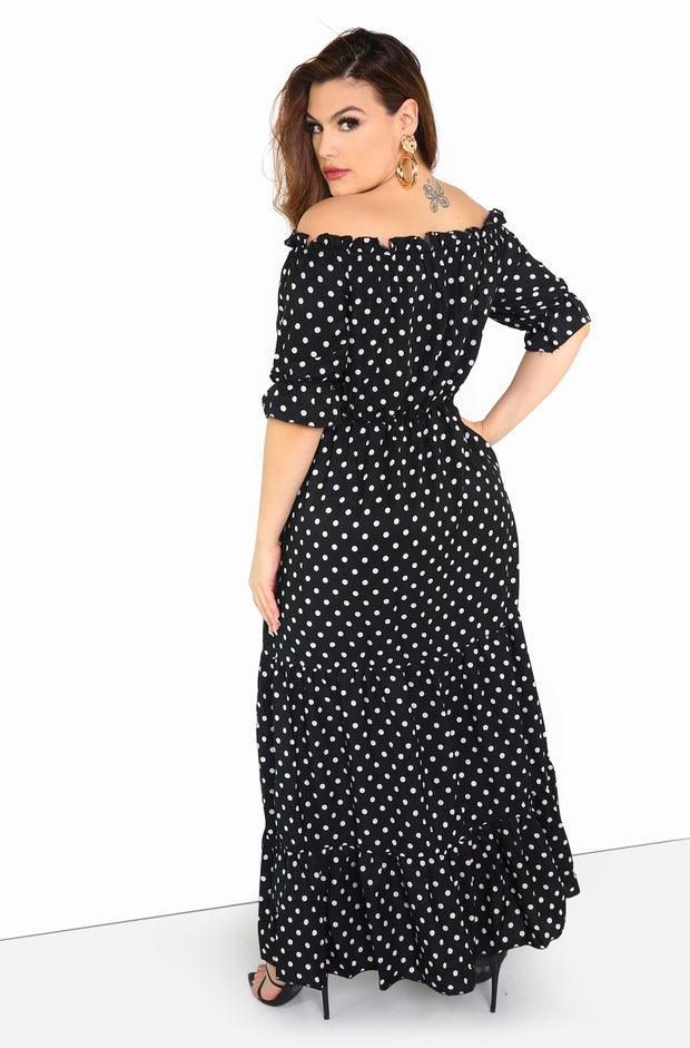 Black Over The Shoulder Polka Dot Maxi Dress Plus Size