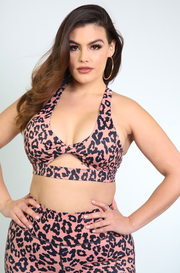 Pink Leopard Cut Out Sports Bra Plus Sizes