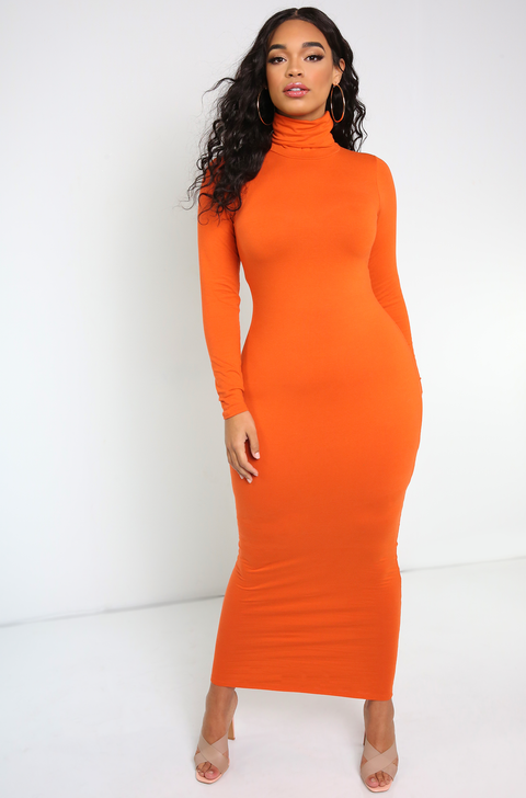 "Rebdolls ""Instant Classic"" Long Sleeve Turtleneck Bodycon Maxi Dress"
