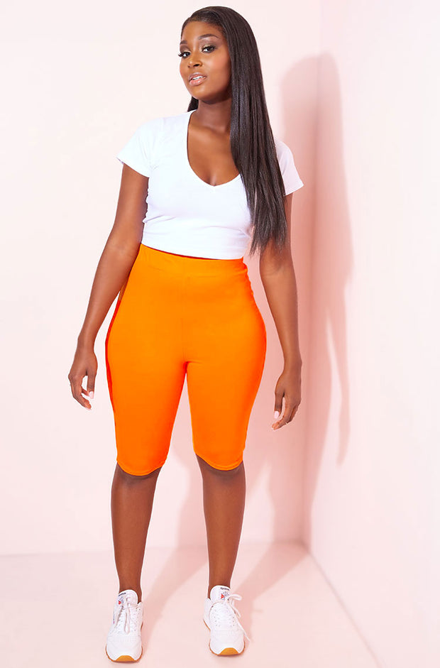 Orange Cropped Leggings Plus Sizes