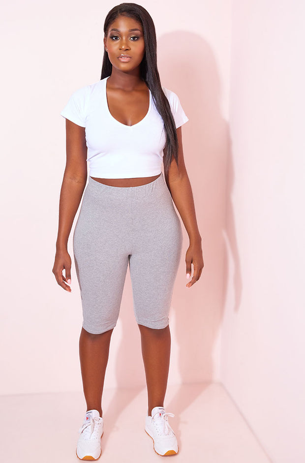 Gray Cropped Leggings Plus Sizes
