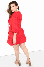Rust Red A Line Ruffle Mini Dress Plus Sizes