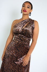Brown One Shoulder A-Line Dress Plus Sizes