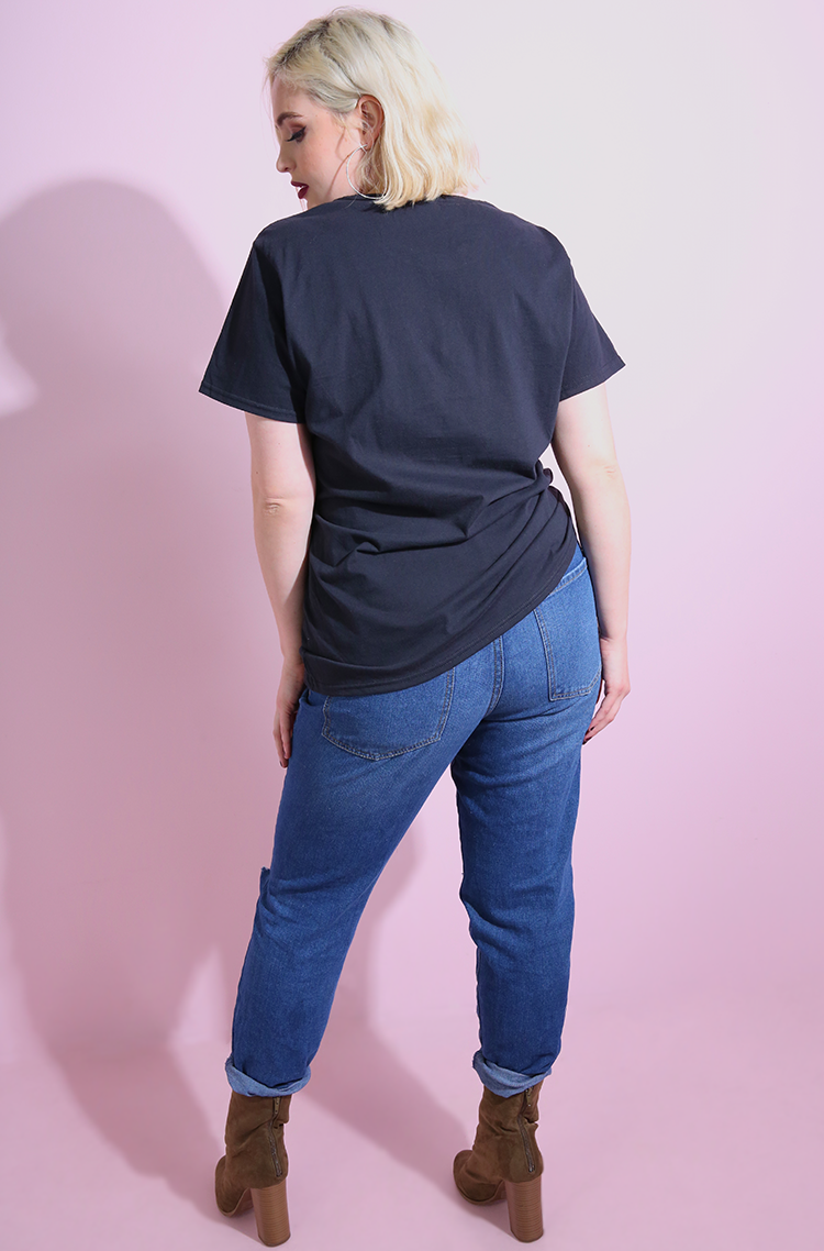 Black Crew Neck Short Sleeve T-Shirt plus sizes
