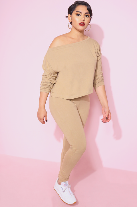 Nude Over The Shoulder Long Sleeve Oversized Crop Top Plus Sizes