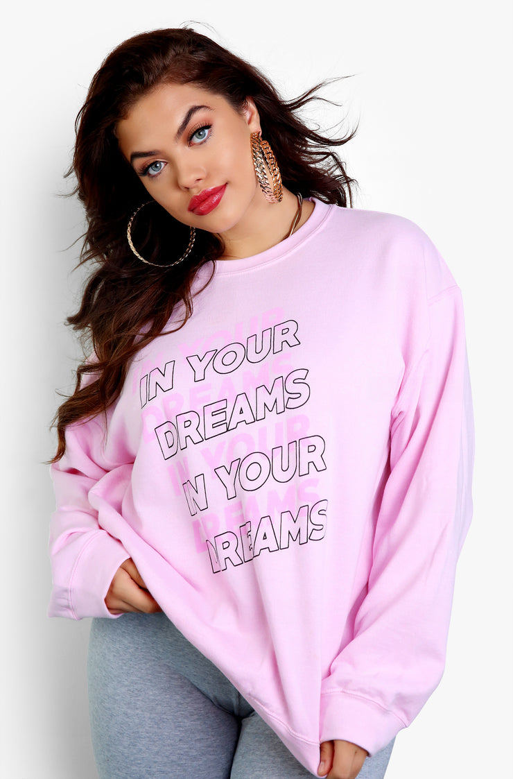 Pink Long Sleeve Graphic Sweatshirt Plus Size