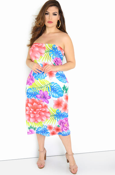 Pink Floral Strapless Bodycon Midi Dress Plus Size