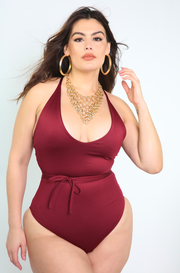 Burgundy Wrap Around V-Neck Swimsuit Plus Sizes