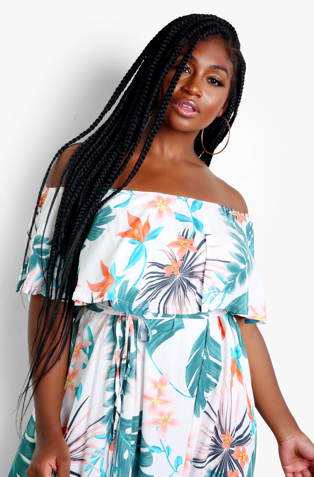 White Tropical Print Ruffled Maxi Dress Plus Sizes